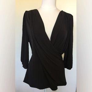 Black Wrap V-neck Tunic -XL